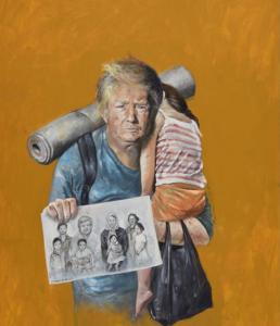 Donald Trump als vluchteling. © Abdalla Al Omari